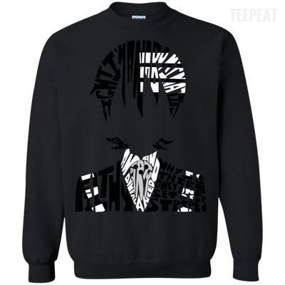 CustomCat Apparel Printed Crewneck Pullover Sweatshirt  8 oz / Black / Small Death the Kid Tee