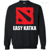 CustomCat Apparel Printed Crewneck Pullover Sweatshirt  8 oz / Black / Small Dota 2 Easy Katka Tee