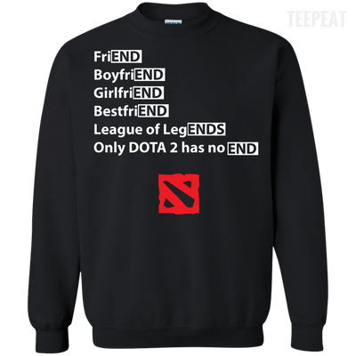CustomCat Apparel Printed Crewneck Pullover Sweatshirt  8 oz / Black / Small Dota 2 END Tee