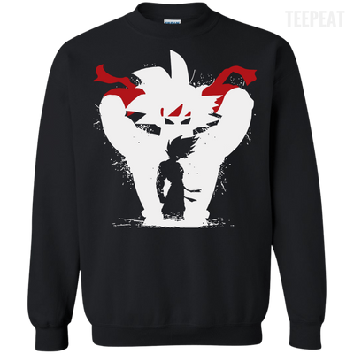 CustomCat Apparel Printed Crewneck Pullover Sweatshirt  8 oz / Black / Small Dragon Ball Z Bardock Tee