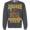 CustomCat Apparel Printed Crewneck Pullover Sweatshirt  8 oz / Dark Heather / Small Aquaman Swimming Team Tee