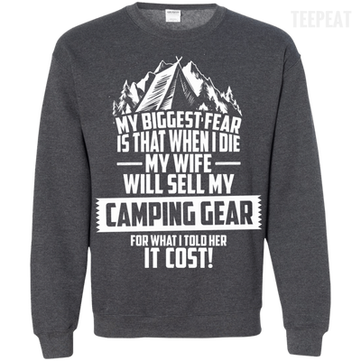 CustomCat Apparel Printed Crewneck Pullover Sweatshirt  8 oz / Dark Heather / Small Biggest Fear Camping Gear Tee