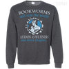 CustomCat Apparel Printed Crewneck Pullover Sweatshirt  8 oz / Dark Heather / Small Bookworms Will Rule The World Tee