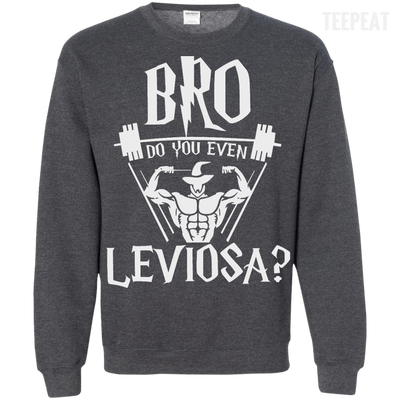 CustomCat Apparel Printed Crewneck Pullover Sweatshirt 8 oz / Dark Heather / Small Bro Do You Even Leviosa Tee