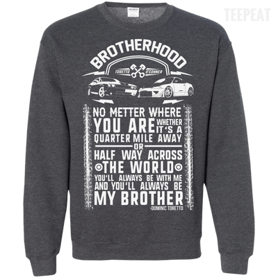 CustomCat Apparel Printed Crewneck Pullover Sweatshirt  8 oz / Dark Heather / Small Brotherhood Tee