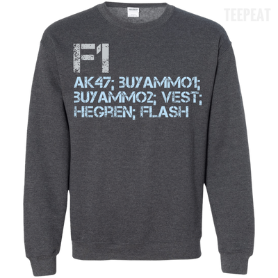 CustomCat Apparel Printed Crewneck Pullover Sweatshirt  8 oz / Dark Heather / Small Counter Strike Buy AK47 Blue Tee