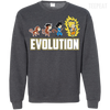 CustomCat Apparel Printed Crewneck Pullover Sweatshirt  8 oz / Dark Heather / Small DBZ - Saiyan Evolution Tee