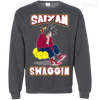 CustomCat Apparel Printed Crewneck Pullover Sweatshirt  8 oz / Dark Heather / Small DBZ - Saiyan Swaggin Tee