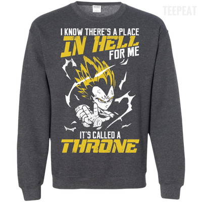 CustomCat Apparel Printed Crewneck Pullover Sweatshirt  8 oz / Dark Heather / Small DBZ - Vegeta's Throne Tee