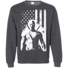 CustomCat Apparel Printed Crewneck Pullover Sweatshirt  8 oz / Dark Heather / Small Deadpool Flag Tee