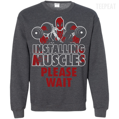 CustomCat Apparel Printed Crewneck Pullover Sweatshirt  8 oz / Dark Heather / Small Deadpool Installing Muscles Tee