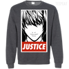 CustomCat Apparel Printed Crewneck Pullover Sweatshirt  8 oz / Dark Heather / Small Death Note Justice Tee