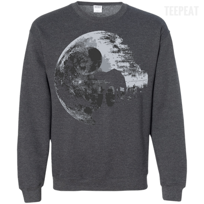 CustomCat Apparel Printed Crewneck Pullover Sweatshirt  8 oz / Dark Heather / Small Death Star Tee