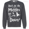 CustomCat Apparel Printed Crewneck Pullover Sweatshirt  8 oz / Dark Heather / Small Don't Let The Muggles Get You Down Tee