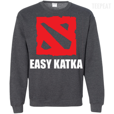 CustomCat Apparel Printed Crewneck Pullover Sweatshirt  8 oz / Dark Heather / Small Dota 2 Easy Katka Tee