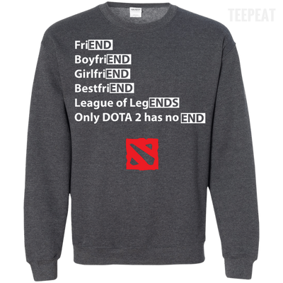 CustomCat Apparel Printed Crewneck Pullover Sweatshirt  8 oz / Dark Heather / Small Dota 2 END Tee