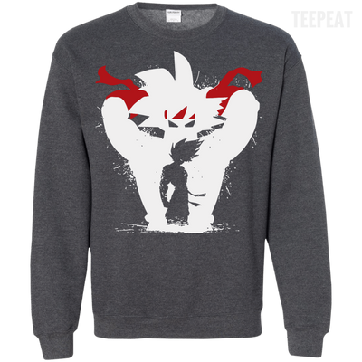 CustomCat Apparel Printed Crewneck Pullover Sweatshirt  8 oz / Dark Heather / Small Dragon Ball Z Bardock Tee