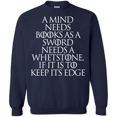 CustomCat Apparel Printed Crewneck Pullover Sweatshirt  8 oz / Navy / Small A Mind Needs Books Tee