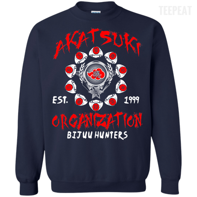 CustomCat Apparel Printed Crewneck Pullover Sweatshirt  8 oz / Navy / Small Akatsuki Organization Tee