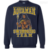 CustomCat Apparel Printed Crewneck Pullover Sweatshirt  8 oz / Navy / Small Aquaman Swimming Team Tee