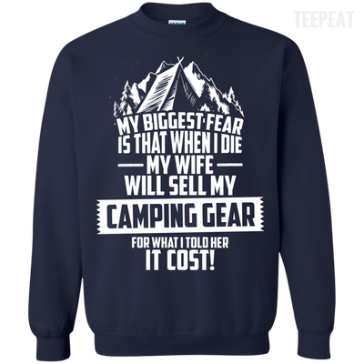 CustomCat Apparel Printed Crewneck Pullover Sweatshirt  8 oz / Navy / Small Biggest Fear Camping Gear Tee