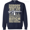 CustomCat Apparel Printed Crewneck Pullover Sweatshirt  8 oz / Navy / Small Bitch Here You Are Tee