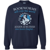 CustomCat Apparel Printed Crewneck Pullover Sweatshirt  8 oz / Navy / Small Bookworms Will Rule The World Tee
