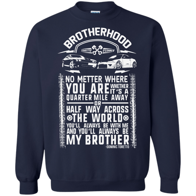 CustomCat Apparel Printed Crewneck Pullover Sweatshirt  8 oz / Navy / Small Brotherhood Tee