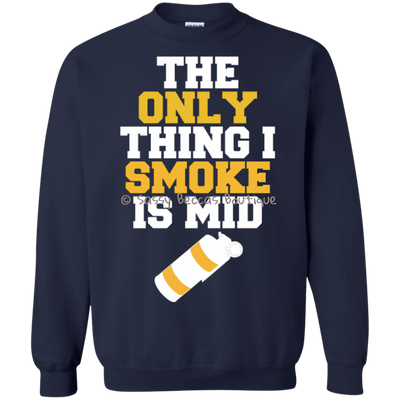 CustomCat Apparel Printed Crewneck Pullover Sweatshirt  8 oz / Navy / Small Counter Ctrike Smoke Grenade Tee