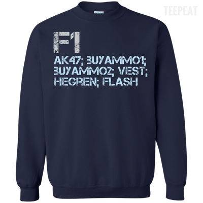CustomCat Apparel Printed Crewneck Pullover Sweatshirt  8 oz / Navy / Small Counter Strike Buy AK47 Blue Tee