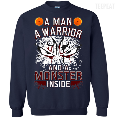 CustomCat Apparel Printed Crewneck Pullover Sweatshirt  8 oz / Navy / Small DBZ - Monster Vegeta Tee