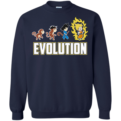 CustomCat Apparel Printed Crewneck Pullover Sweatshirt  8 oz / Navy / Small DBZ - Saiyan Evolution Tee