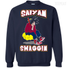 CustomCat Apparel Printed Crewneck Pullover Sweatshirt  8 oz / Navy / Small DBZ - Saiyan Swaggin Tee