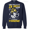 CustomCat Apparel Printed Crewneck Pullover Sweatshirt  8 oz / Navy / Small DBZ - Vegeta's Throne Tee