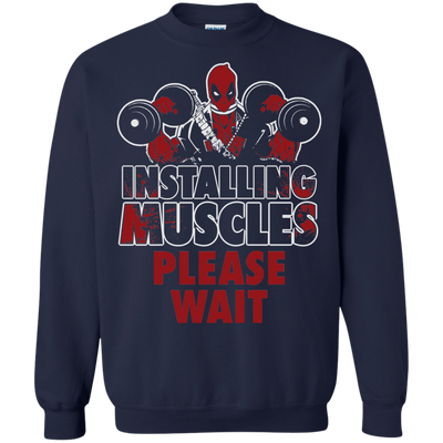 CustomCat Apparel Printed Crewneck Pullover Sweatshirt  8 oz / Navy / Small Deadpool Installing Muscles Tee