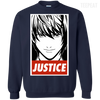 CustomCat Apparel Printed Crewneck Pullover Sweatshirt  8 oz / Navy / Small Death Note Justice Tee