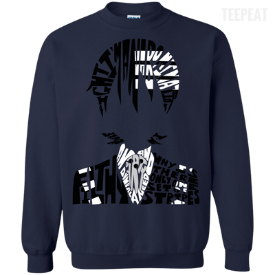 CustomCat Apparel Printed Crewneck Pullover Sweatshirt  8 oz / Navy / Small Death the Kid Tee