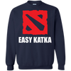 CustomCat Apparel Printed Crewneck Pullover Sweatshirt  8 oz / Navy / Small Dota 2 Easy Katka Tee