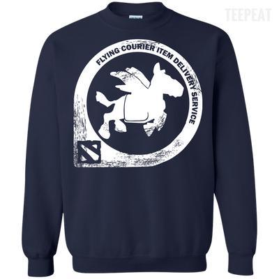 CustomCat Apparel Printed Crewneck Pullover Sweatshirt  8 oz / Navy / Small Dota 2 Flying Courier Tee
