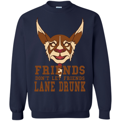 CustomCat Apparel Printed Crewneck Pullover Sweatshirt  8 oz / Navy / Small Dota 2 Lane Drunk Tee