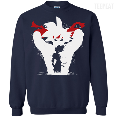 CustomCat Apparel Printed Crewneck Pullover Sweatshirt  8 oz / Navy / Small Dragon Ball Z Bardock Tee