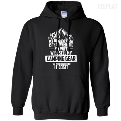 CustomCat Apparel Pullover Hoodie 8 oz / Black / Small Biggest Fear Camping Gear Tee