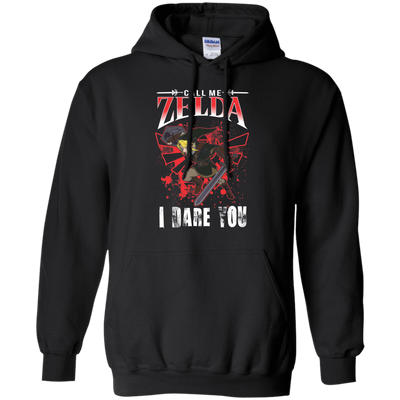 CustomCat Apparel Pullover Hoodie 8 oz / Black / Small Call Me Zelda I Dare You Tee