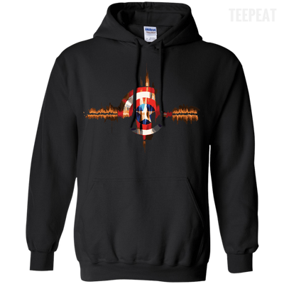 CustomCat Apparel Pullover Hoodie 8 oz / Black / Small Captain Pulse Dark Tee