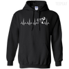 CustomCat Apparel Pullover Hoodie 8 oz / Black / Small Cardiogram Dog Tee