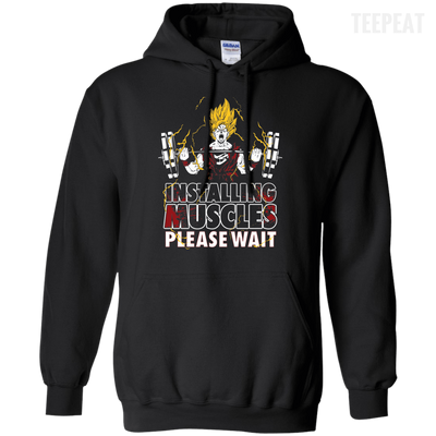 CustomCat Apparel Pullover Hoodie 8 oz / Black / Small DBZ - Installing Muscles Tee