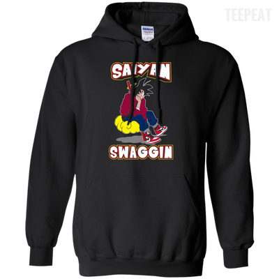 CustomCat Apparel Pullover Hoodie 8 oz / Black / Small DBZ - Saiyan Swaggin Tee