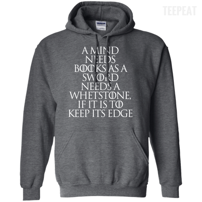 CustomCat Apparel Pullover Hoodie 8 oz / Dark Heather / Small A Mind Needs Books Tee