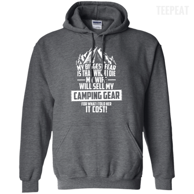 CustomCat Apparel Pullover Hoodie 8 oz / Dark Heather / Small Biggest Fear Camping Gear Tee
