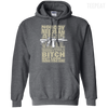 CustomCat Apparel Pullover Hoodie 8 oz / Dark Heather / Small Bitch Here You Are Tee